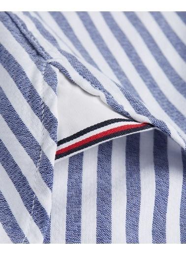Tommy Hilfiger Erkek Slım Textured Strıpe Sh Gömlek MW0MW11520 Mavi